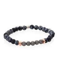 Tateossian Stonehenge Obsidian And Rose Goldplated Sterling Silver Bracelet Grey