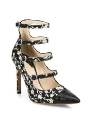 Altuzarra Isabella Silk Floral Mary Jane Pumps Black Naturalwhite