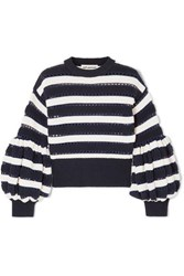Self Portrait Striped Open Knit Cotton And Wool Blend Sweater Navy