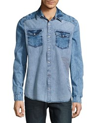 Buffalo David Bitton Cotton Washed Denim Gingham Shirt Indigo