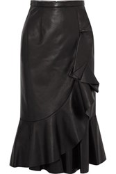 Michael Kors Collection Rumba Wrap Effect Ruffled Leather Skirt Black