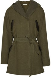Alice Olivia Cole Leather Trimmed Hooded Canvas Coat Army Green