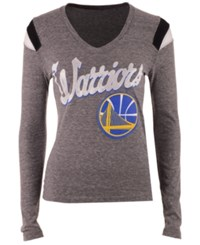 5Th And Ocean Women's Golden State Warriors Travel Long Sleeve T Shirt Gray