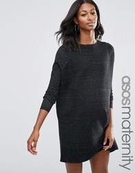 Asos Jumper Dress In Knit With Ripple Stitch Sleeves Charcoal Nep Grey