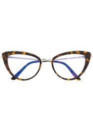 Tom Ford Eyewear Cat Eye Shaped Glasses Brown