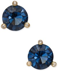 Kate Spade New York Gold Tone Navy Blue And Clear Crystal Stud Earrings Montana