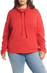 Halogen Plus Size Cowl Neck Sweatshirt Red Chinoise