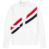 Thom Browne Diagonal Stripe Cardigan White