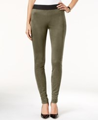 Inc International Concepts Faux Suede Skinny Leggings Only At Macy's Olive Drab