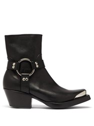 Vetements Ring And Stirrup Leather Western Boots Black