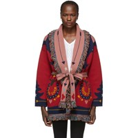 Alanui Red And Multicolor 'Good Luck' Cardigan