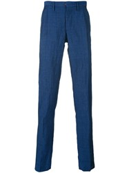 Incotex Relaxed Trousers Men Linen Flax Wool 46 Blue