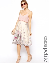Asos Petite Exclusive Printed Scuba Midi Skirt