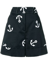 Thom Browne Anchor Embroidery Short Blue