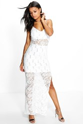 Boohoo Sequin Lace Maxi Dress Ivory