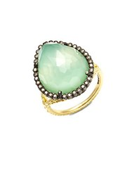 Armenta Old World Champagne Diamond Chrysoprase Moon Quartz And 18K Goldplated Sterling Silver Ring