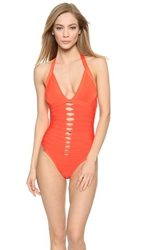 Herve Leger Michelli One Piece Swimsuit Vermillion