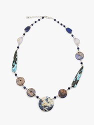 One Button Beaded Statement Necklace Navy