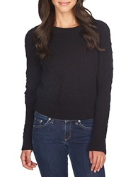 1 State Patterned Crew Sweater Rich Black