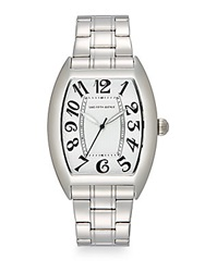 Saks Fifth Avenue Stainless Steel Oval Dial Watch Silver White