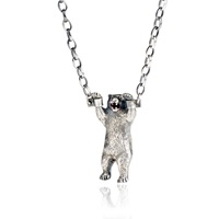 Momocreatura Hand Cuffed Bear Necklace Silver
