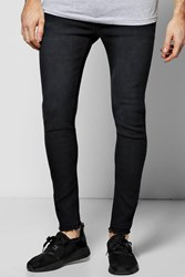 Boohoo Skinny Fit Jeans With Raw Hem Charcoal