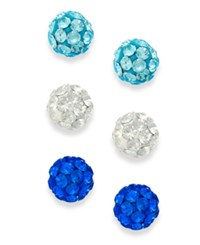 Unwritten Clear And Blue Crystal Stud Trio In Sterling Silver No Color