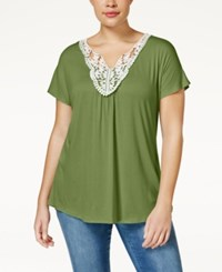 Ing Trendy Plus Size Crochet Trim Top Dusty Olive