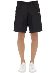 Moschino Cotton Blend Shorts W Logo Patch Black