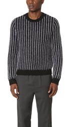 3.1 Phillip Lim Cropped Boxy Pinstripe Pullover Navy White