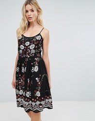 Amy Lynn Embroidered Cami Dress Black