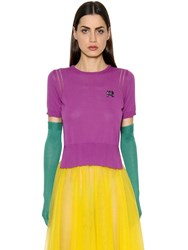 Rochas Short Sleeve Cotton Knit Sweater