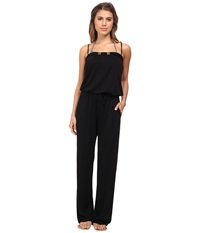 Bleu Rod Beattie Totally Tubular Solids Jumpsuit W Shelf Bra Cups Cover Up Black Women's Jumpsuit And Rompers One Piece
