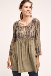 Meadow Rue Roma Tunic Blouse Green Moss