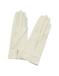 Forzieri Women's Ivory Unlined Italian Leather Gloves