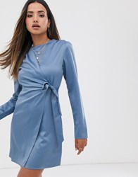 Fashion Union Wrap Dress With Tie Detail In Satin Blue