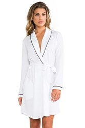 Only Hearts Club Organic Cotton Piped Short Robe White