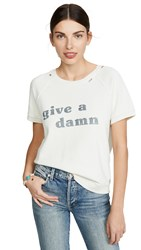 Amo Give A Damn Short Sleeve Sweatshirt Vintage White