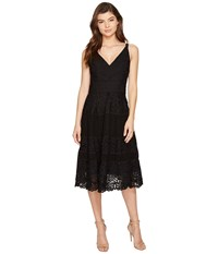 Adelyn Rae Laureen Woven Lace Midi Fit And Flare Black Women's Dress