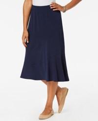 Alfred Dunner Petite Royal Street Collection Midi Skirt Navy