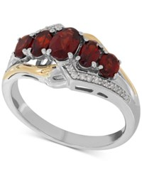 Macy's Garnet 1 5 8 Ct. T.W. And Diamond Accent Ring In Sterling Silver And 14K Gold Two Tone