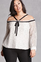 Forever 21 Plus Size Embroidered Lace Top Beige