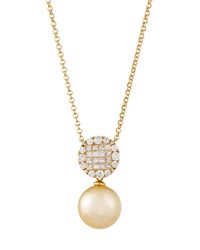 Belpearl 18K Round Diamond And Golden South Sea Pearl Pendant Necklace 12Mm