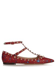 Valentino Rockstud Leather Flats Red Multi