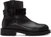 Moschino Black Leather Logo Boots