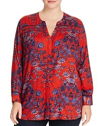 Lucky Brand Plus Embroidered Floral Blouse Red Multi