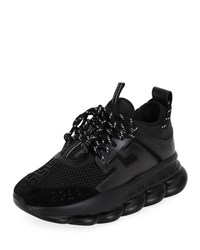 Versace Chain Reaction Mesh Chunky Heel Sneakers Black