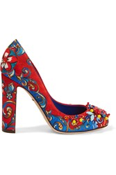 Dolce And Gabbana Embellished Printed Brocade Pumps Blue Red