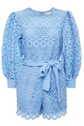 Maje Woman Belted Guipure Lace Playsuit Light Blue
