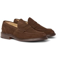 Tricker's James Suede Penny Loafers Chocolate